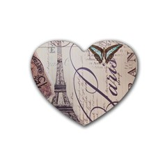 Vintage Scripts Floral Scripts Butterfly Eiffel Tower Vintage Paris Fashion Drink Coasters (heart) by chicelegantboutique