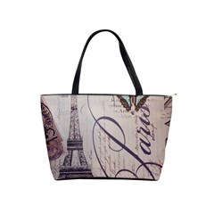 Vintage Scripts Floral Scripts Butterfly Eiffel Tower Vintage Paris Fashion Large Shoulder Bag by chicelegantboutique
