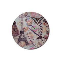 French Pastry Vintage Scripts Floral Scripts Butterfly Eiffel Tower Vintage Paris Fashion Drink Coaster (Round) by chicelegantboutique