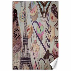 French Pastry Vintage Scripts Floral Scripts Butterfly Eiffel Tower Vintage Paris Fashion Canvas 24  X 36  (unframed) by chicelegantboutique