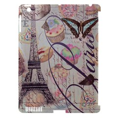 French Pastry Vintage Scripts Floral Scripts Butterfly Eiffel Tower Vintage Paris Fashion Apple Ipad 3/4 Hardshell Case (compatible With Smart Cover) by chicelegantboutique