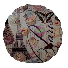 French Pastry Vintage Scripts Floral Scripts Butterfly Eiffel Tower Vintage Paris Fashion 18  Premium Round Cushion  by chicelegantboutique