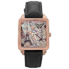 French Pastry Vintage Scripts Floral Scripts Butterfly Eiffel Tower Vintage Paris Fashion Rose Gold Leather Watch  by chicelegantboutique