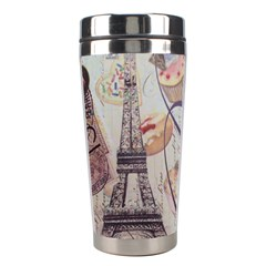 French Pastry Vintage Scripts Floral Scripts Butterfly Eiffel Tower Vintage Paris Fashion Stainless Steel Travel Tumbler by chicelegantboutique