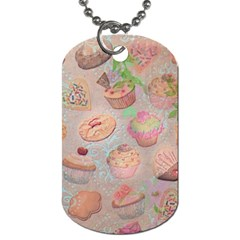 French Pastry Vintage Scripts Cookies Cupcakes Vintage Paris Fashion Dog Tag (one Sided) by chicelegantboutique