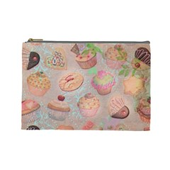 French Pastry Vintage Scripts Cookies Cupcakes Vintage Paris Fashion Cosmetic Bag (large) by chicelegantboutique