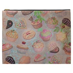 French Pastry Vintage Scripts Cookies Cupcakes Vintage Paris Fashion Cosmetic Bag (xxxl) by chicelegantboutique