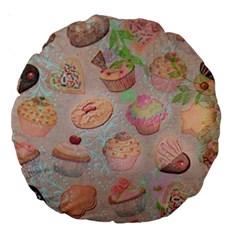 French Pastry Vintage Scripts Cookies Cupcakes Vintage Paris Fashion 18  Premium Round Cushion  by chicelegantboutique