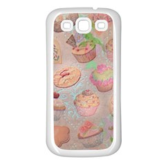 French Pastry Vintage Scripts Cookies Cupcakes Vintage Paris Fashion Samsung Galaxy S3 Back Case (white) by chicelegantboutique