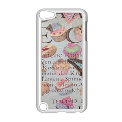 French Pastry Vintage Scripts Floral Scripts Butterfly Eiffel Tower Vintage Paris Fashion Apple Ipod Touch 5 Case (white) by chicelegantboutique