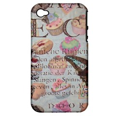 French Pastry Vintage Scripts Floral Scripts Butterfly Eiffel Tower Vintage Paris Fashion Apple Iphone 4/4s Hardshell Case (pc+silicone) by chicelegantboutique