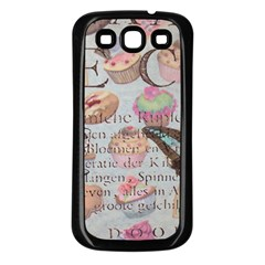 French Pastry Vintage Scripts Floral Scripts Butterfly Eiffel Tower Vintage Paris Fashion Samsung Galaxy S3 Back Case (black) by chicelegantboutique