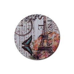 Vintage Clock Blue Butterfly Paris Eiffel Tower Fashion Drink Coaster (round) by chicelegantboutique