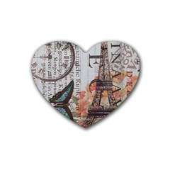 Vintage Clock Blue Butterfly Paris Eiffel Tower Fashion Drink Coasters 4 Pack (heart)  by chicelegantboutique