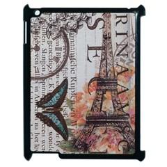 Vintage Clock Blue Butterfly Paris Eiffel Tower Fashion Apple Ipad 2 Case (black) by chicelegantboutique
