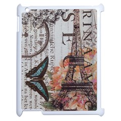 Vintage Clock Blue Butterfly Paris Eiffel Tower Fashion Apple Ipad 2 Case (white) by chicelegantboutique
