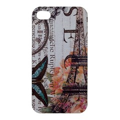 Vintage Clock Blue Butterfly Paris Eiffel Tower Fashion Apple Iphone 4/4s Hardshell Case by chicelegantboutique