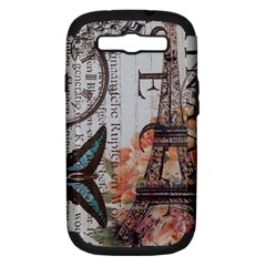 Vintage Clock Blue Butterfly Paris Eiffel Tower Fashion Samsung Galaxy S Iii Hardshell Case (pc+silicone) by chicelegantboutique