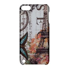 Vintage Clock Blue Butterfly Paris Eiffel Tower Fashion Apple Ipod Touch 5 Hardshell Case With Stand by chicelegantboutique