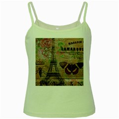Girly Bee Crown  Butterfly Paris Eiffel Tower Fashion Green Spaghetti Tank by chicelegantboutique
