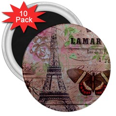 Girly Bee Crown  Butterfly Paris Eiffel Tower Fashion 3  Button Magnet (10 Pack) by chicelegantboutique