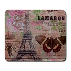 Girly Bee Crown  Butterfly Paris Eiffel Tower Fashion Large Mouse Pad (rectangle) by chicelegantboutique