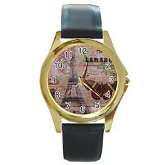Girly Bee Crown  Butterfly Paris Eiffel Tower Fashion Round Metal Watch (gold Rim)  by chicelegantboutique