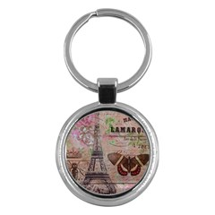 Girly Bee Crown  Butterfly Paris Eiffel Tower Fashion Key Chain (Round) by chicelegantboutique