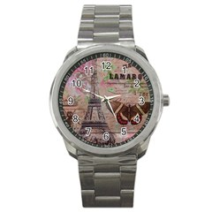Girly Bee Crown  Butterfly Paris Eiffel Tower Fashion Sport Metal Watch by chicelegantboutique