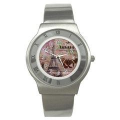 Girly Bee Crown  Butterfly Paris Eiffel Tower Fashion Stainless Steel Watch (unisex) by chicelegantboutique