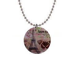 Girly Bee Crown  Butterfly Paris Eiffel Tower Fashion Button Necklace by chicelegantboutique