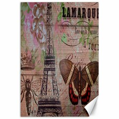 Girly Bee Crown  Butterfly Paris Eiffel Tower Fashion Canvas 12  X 18  (unframed) by chicelegantboutique