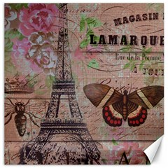 Girly Bee Crown  Butterfly Paris Eiffel Tower Fashion Canvas 20  X 20  (unframed) by chicelegantboutique