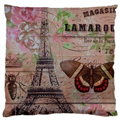 Girly Bee Crown  Butterfly Paris Eiffel Tower Fashion Large Cushion Case (single Sided)  by chicelegantboutique
