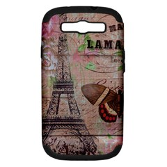 Girly Bee Crown  Butterfly Paris Eiffel Tower Fashion Samsung Galaxy S III Hardshell Case (PC+Silicone)