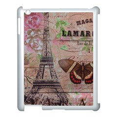 Girly Bee Crown  Butterfly Paris Eiffel Tower Fashion Apple Ipad 3/4 Case (white) by chicelegantboutique