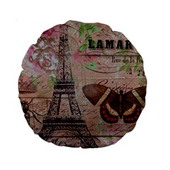 Girly Bee Crown  Butterfly Paris Eiffel Tower Fashion 15  Premium Round Cushion  by chicelegantboutique