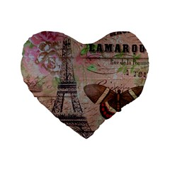 Girly Bee Crown  Butterfly Paris Eiffel Tower Fashion 16  Premium Heart Shape Cushion