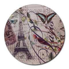 Paris Eiffel Tower Vintage Bird Butterfly French Botanical Art 8  Mouse Pad (round) by chicelegantboutique