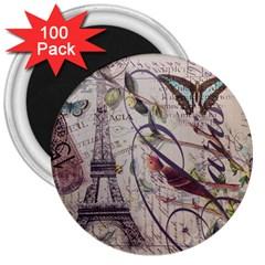 Paris Eiffel Tower Vintage Bird Butterfly French Botanical Art 3  Button Magnet (100 Pack) by chicelegantboutique