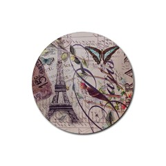 Paris Eiffel Tower Vintage Bird Butterfly French Botanical Art Drink Coaster (round) by chicelegantboutique