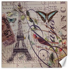 Paris Eiffel Tower Vintage Bird Butterfly French Botanical Art Canvas 20  X 20  (unframed) by chicelegantboutique