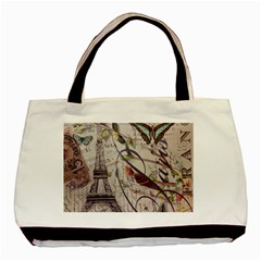 Paris Eiffel Tower Vintage Bird Butterfly French Botanical Art Twin Sided Black Tote Bag by chicelegantboutique