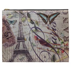 Paris Eiffel Tower Vintage Bird Butterfly French Botanical Art Cosmetic Bag (xxxl) by chicelegantboutique
