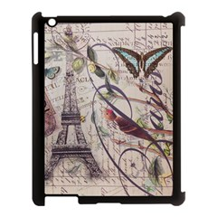 Paris Eiffel Tower Vintage Bird Butterfly French Botanical Art Apple Ipad 3/4 Case (black) by chicelegantboutique