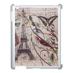 Paris Eiffel Tower Vintage Bird Butterfly French Botanical Art Apple Ipad 3/4 Case (white) by chicelegantboutique