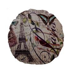 Paris Eiffel Tower Vintage Bird Butterfly French Botanical Art 15  Premium Round Cushion  by chicelegantboutique