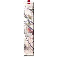 Paris Eiffel Tower Vintage Bird Butterfly French Botanical Art Large Bookmark by chicelegantboutique