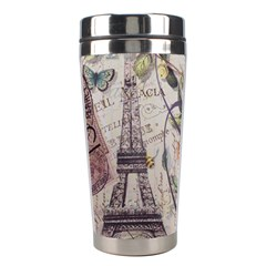 Paris Eiffel Tower Vintage Bird Butterfly French Botanical Art Stainless Steel Travel Tumbler by chicelegantboutique
