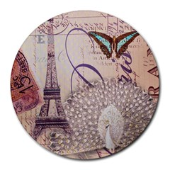 White Peacock Paris Eiffel Tower Vintage Bird Butterfly French Botanical Art 8  Mouse Pad (round) by chicelegantboutique